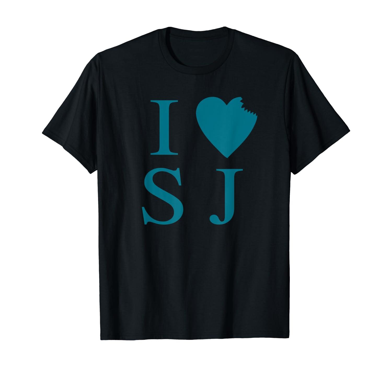 I Love San Jose Shark Bite Heart Teal Shirt