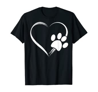Amazon Com Dog Paw Print Heart T Shirt Gift For Mom Gift For Dad Clothing Paw print on red heart icon logo symbol vector. amazon com dog paw print heart t shirt