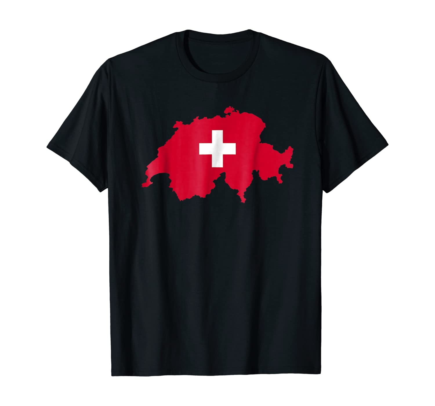 Flag and map Ladies T Shirt Made in Switzerland Gift Country Tee
