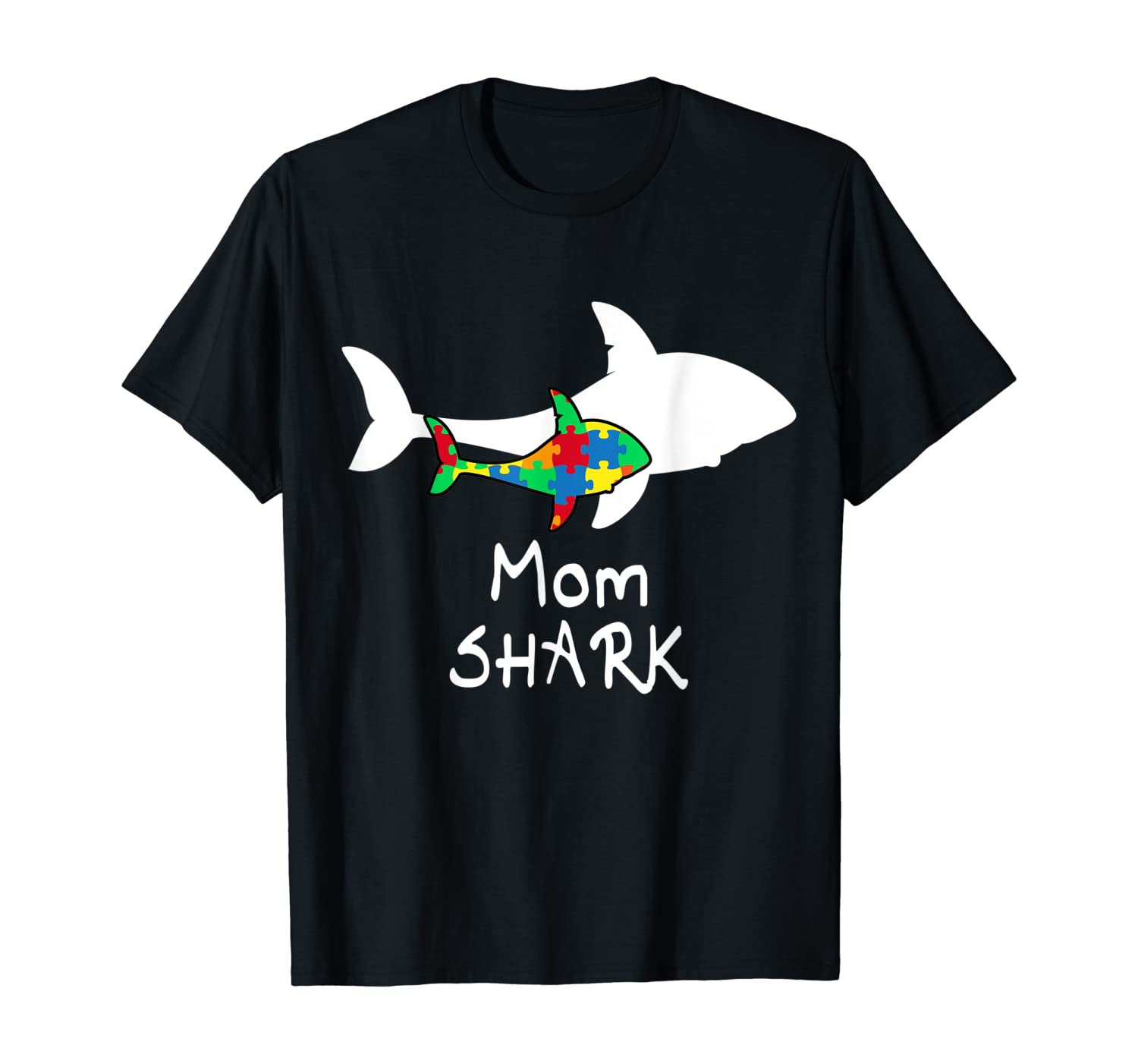 Mom Shark Puzzle Piece Cool Autism Awareness Gift T-Shirt