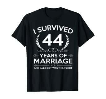 Amazon Com 44th Wedding Anniversary Gifts Couples Husband Wife 44 Years T Shirt Clothing
