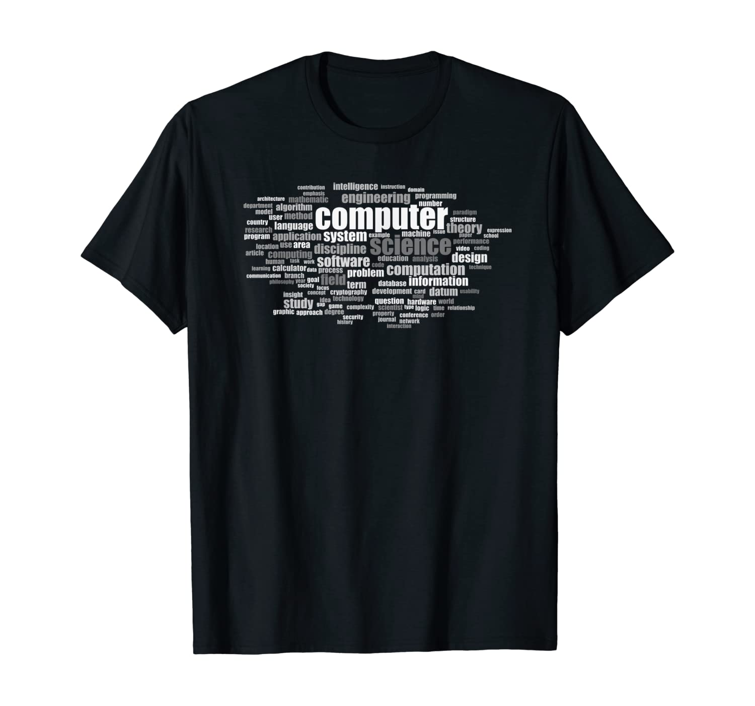 Computer Science Grayscale Word Cloud Design of Key Terms T-Shirt:  Amazon.co.uk: Clothing