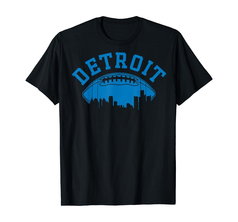Detroit Football Vintage Michigan Skyline Retro Lion Gift T-Shirt