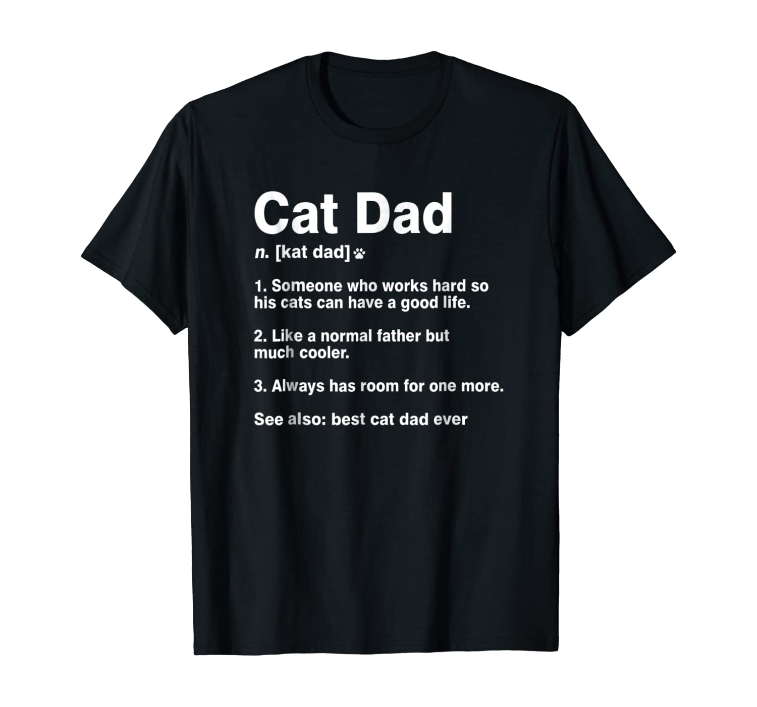 Cat Dad Definition Funny Meaning Shirt Cat Lover Father Gift