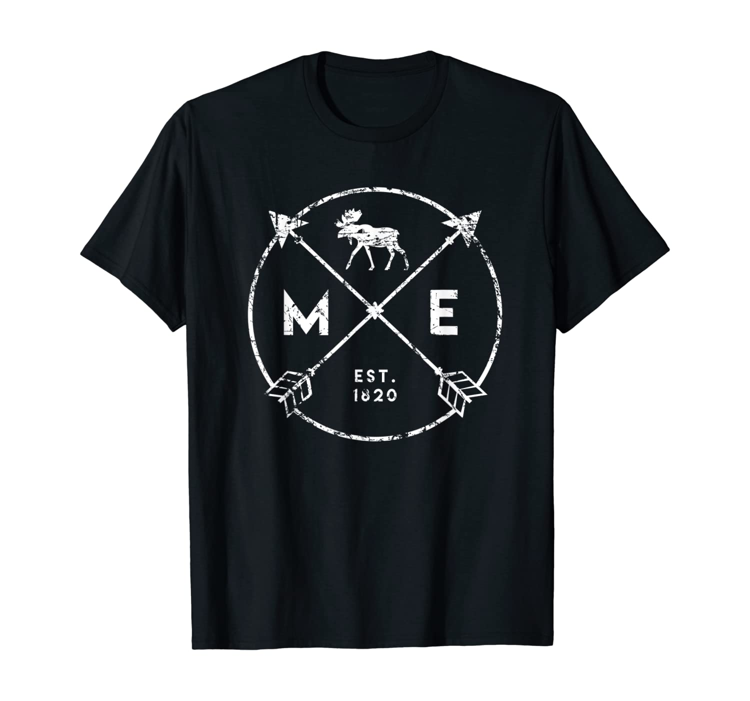 Maine Adventure T Shirt, Est 1820 Moose Arrows State Gift