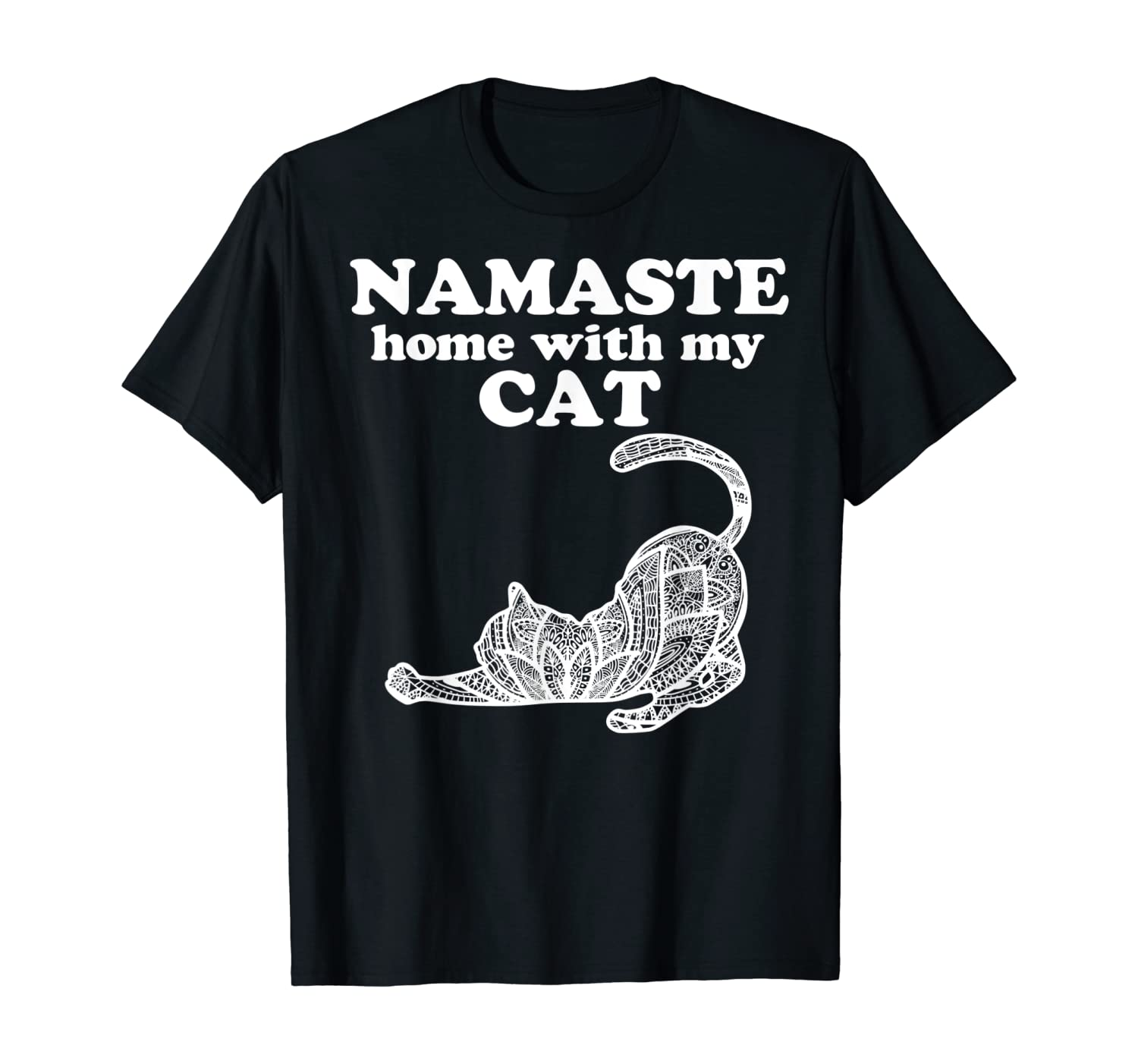 Namaste Home With My Cat Funny Yoga Gift For Women T-Shirt