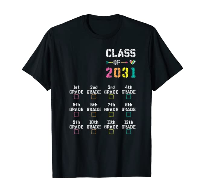 First Day of 1st Grade: CLASS OF 2031 Checkmark Grow-with-Me T-Shirt