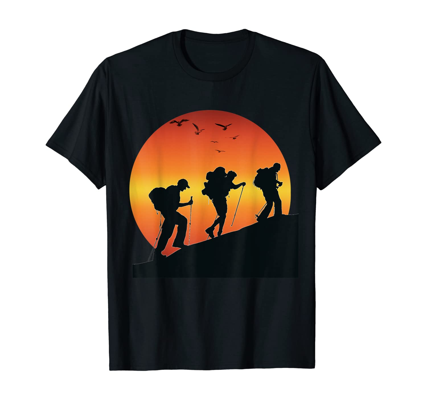 Hiking Climbing Mountain in Sunset with birds nature lovers T-Shirt
