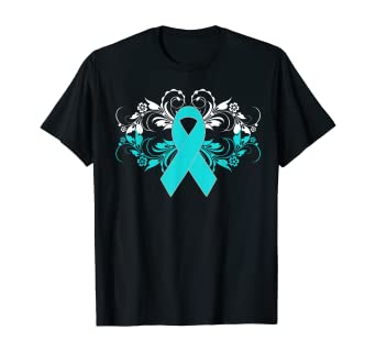 Amazon Com Ovarian Cancer Awareness Support Teal Ribbon Shirt T Shirt Clothing