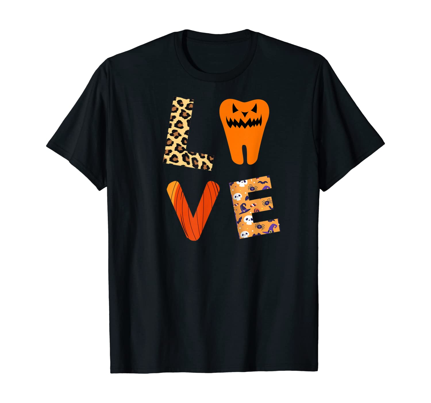 Love Dentist, Dental Assistant Leopard Plaid Halloween Ghost T-Shirt
