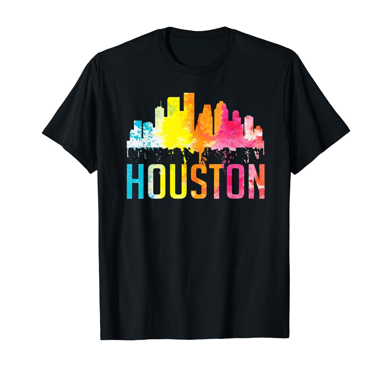 Houston Texas Watercolor Skyline Home State Souvenir Gift T-Shirt