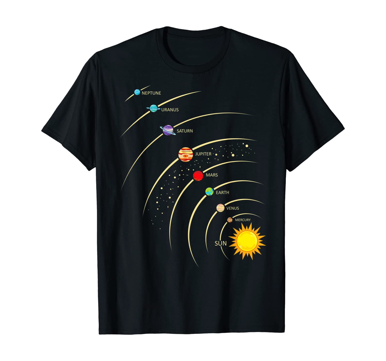 Solar System Shirt Planets & Orbit Educational Astrology Tee T-Shirt
