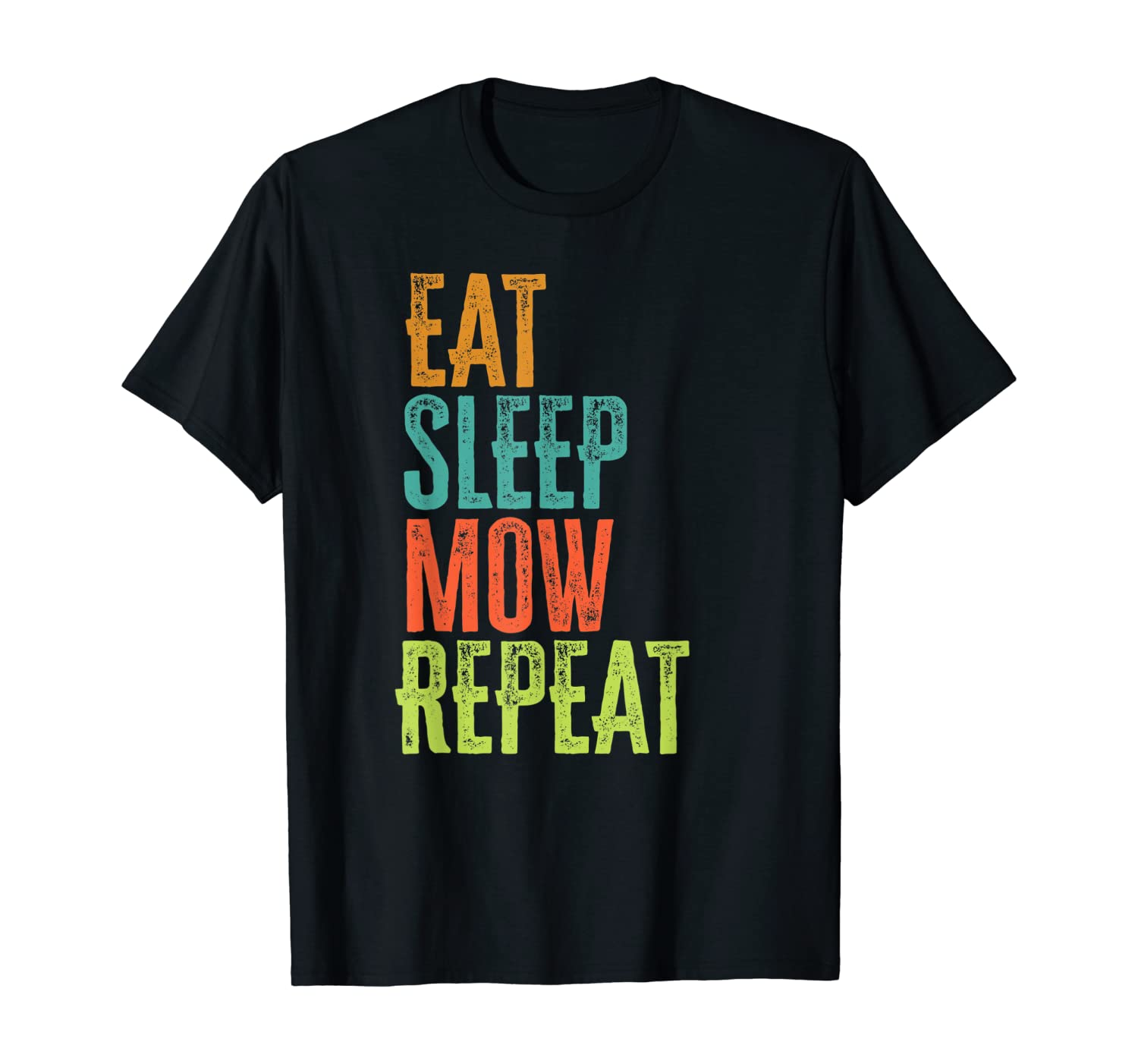 Retro Eat Sleep MOW Repeat Lawn Mower Grass Garden Mowing T-Shirt