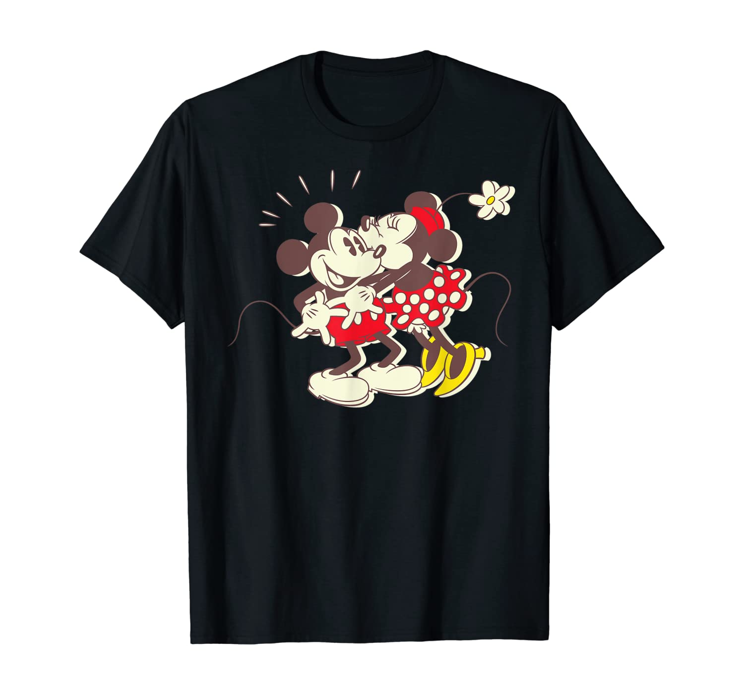Disney Vintage Mickey and Minnie Mouse Kiss T-Shirt