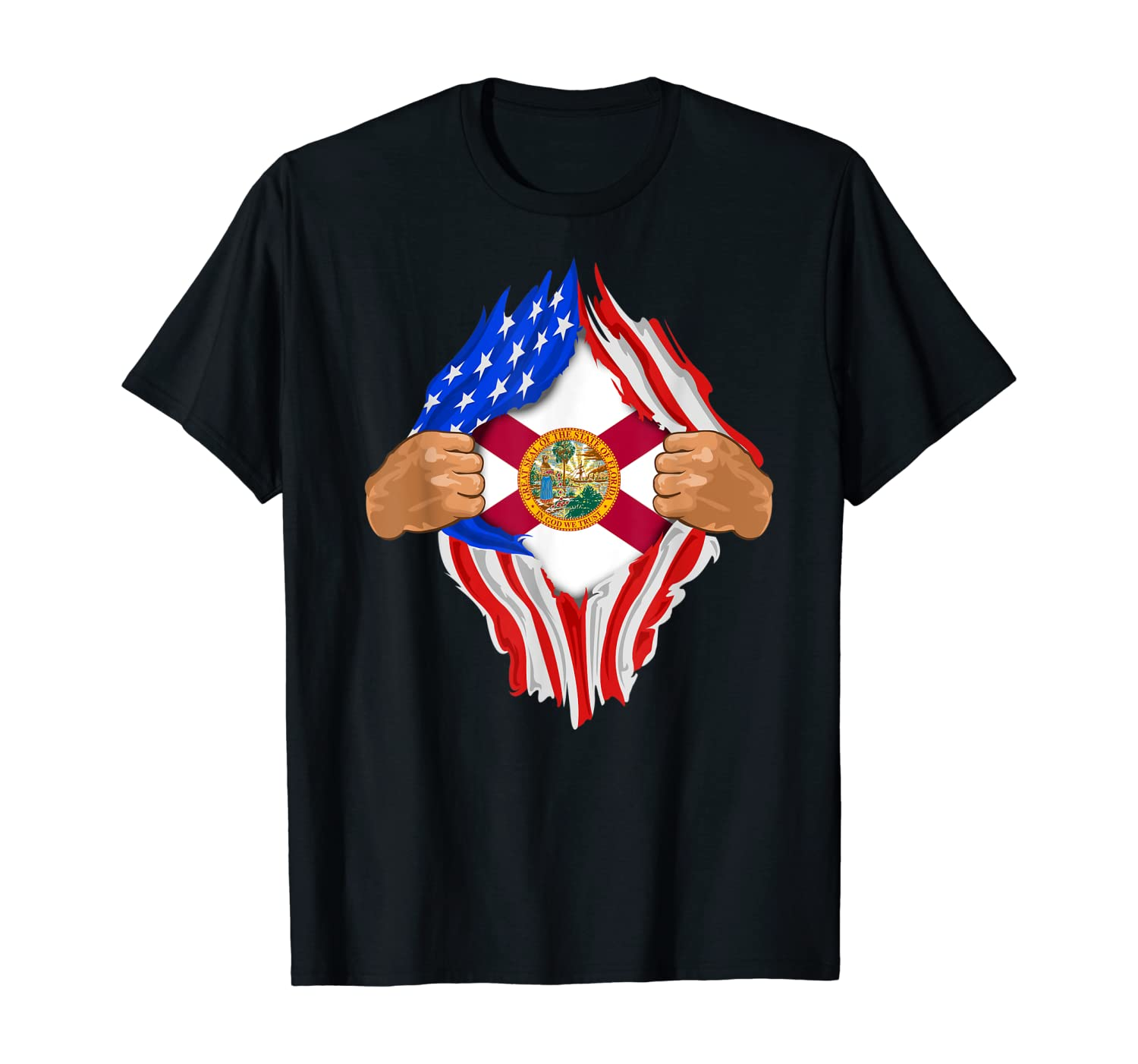 Florida Roots Inside State Flag | American Proud Tee T-Shirt