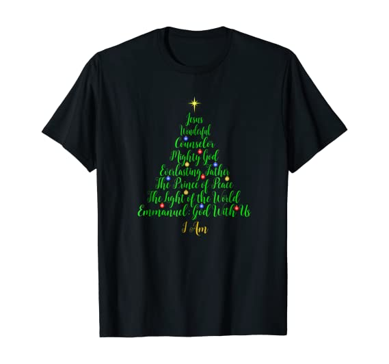 Amazon Com Christian Christmas Shirts Bible Names Of Jesus Tree