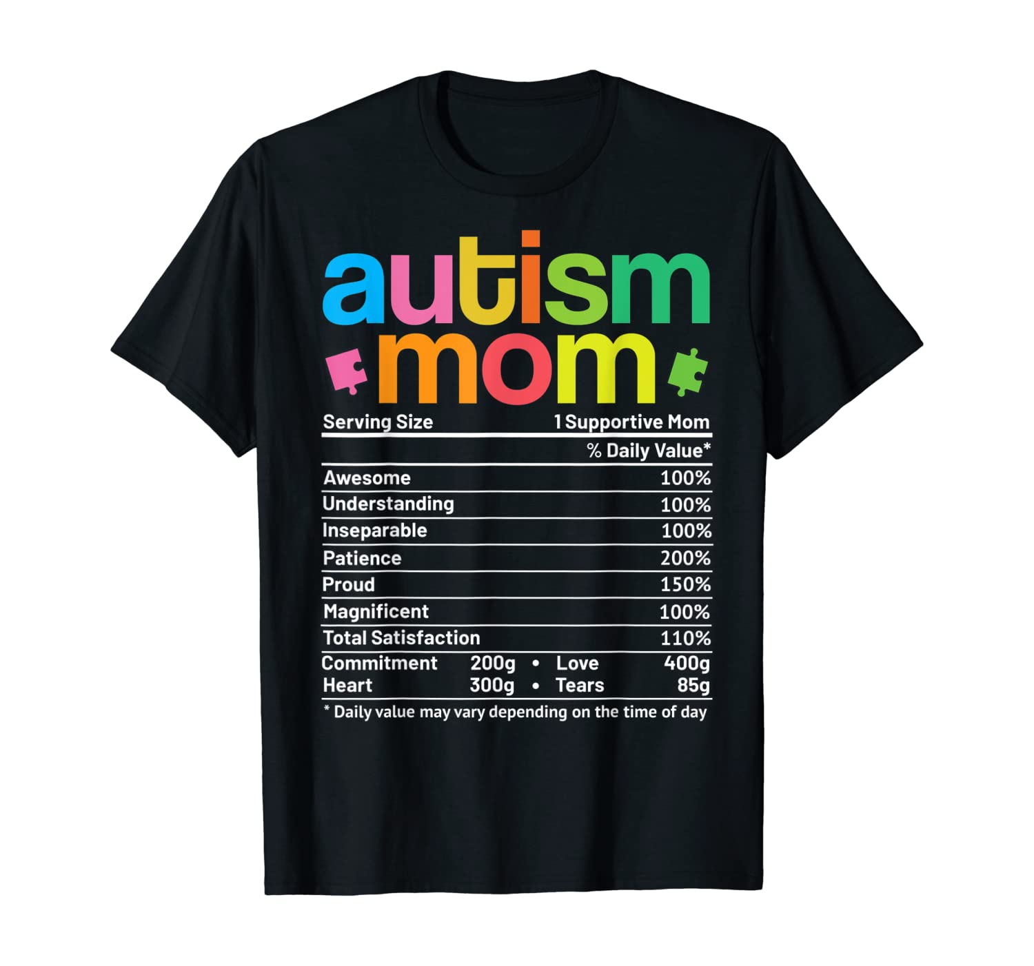 Autism Mom Facts Funny Mother Autism Awareness for Mommy T-Shirt