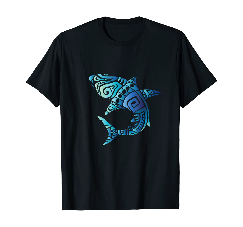 Retro Hawaiian Summer Blue Tribal Sharks Men Women T Shirt