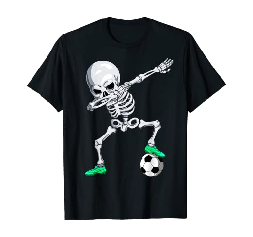 Dabbing Skelett Mit Fussball Dab Gerippe Halloween Kinder Bio-T-Shirt