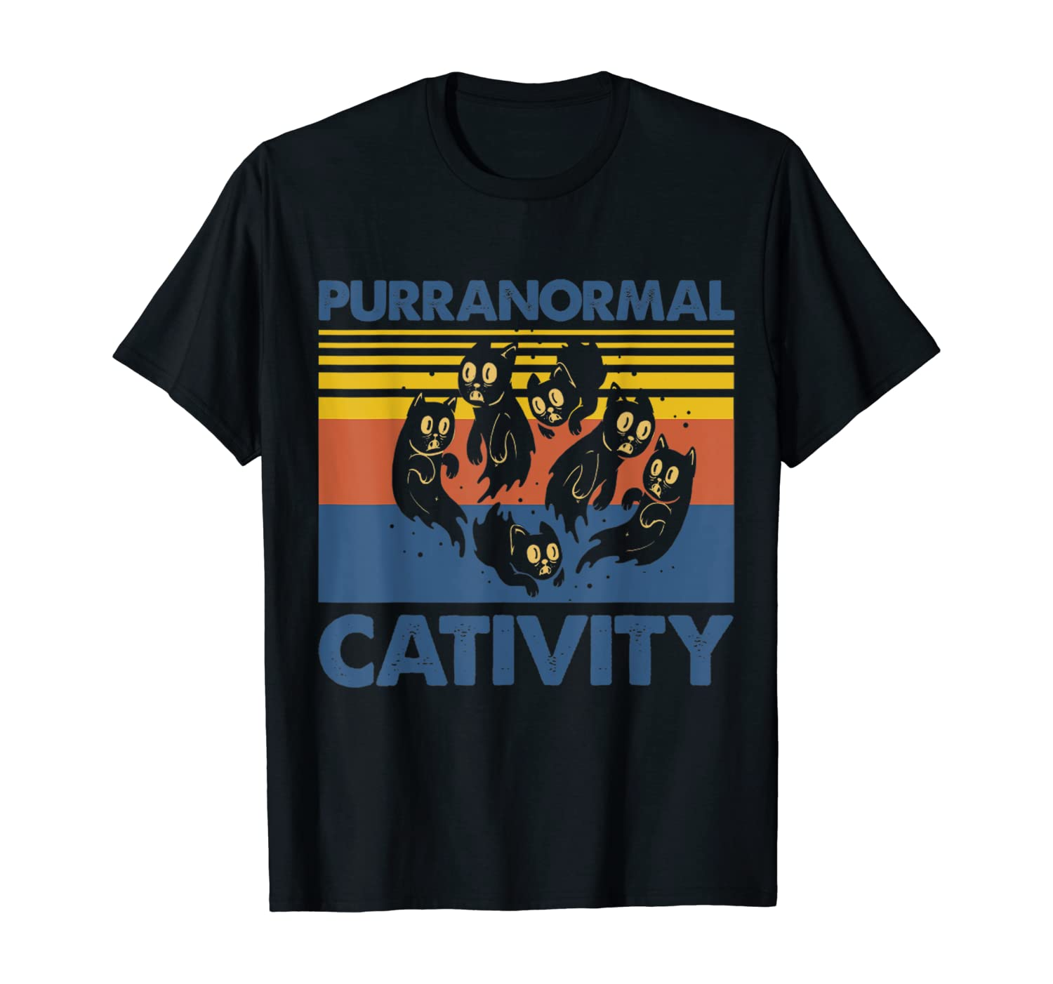 Purranormal Cativity Vintage Halloween Ghost Cats T-Shirt