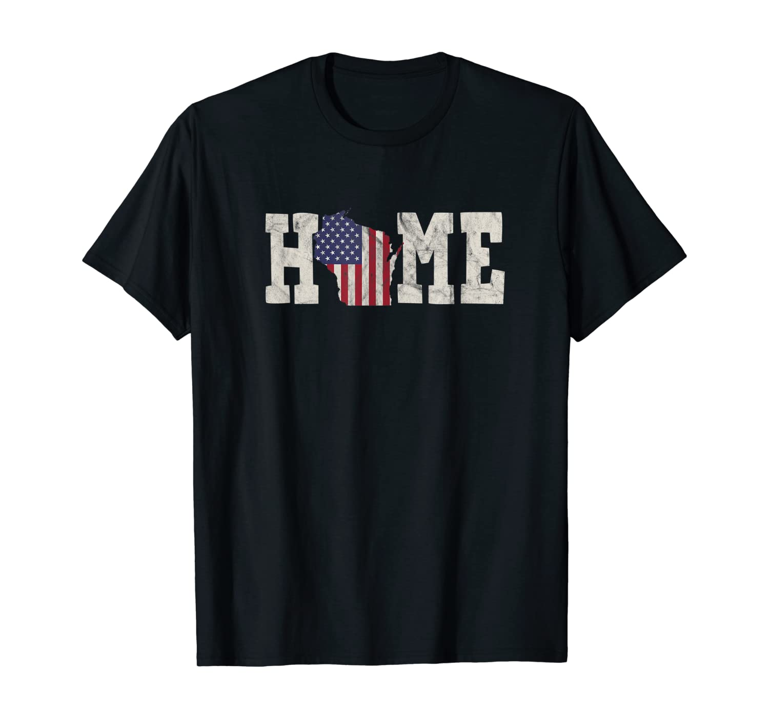 Wisconsin American Flag Home State Shape Distressed Look T-Shirt