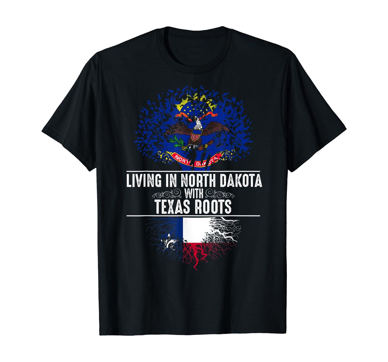North Dakota Home Texas Roots State Tree Flag Gift T-Shirt