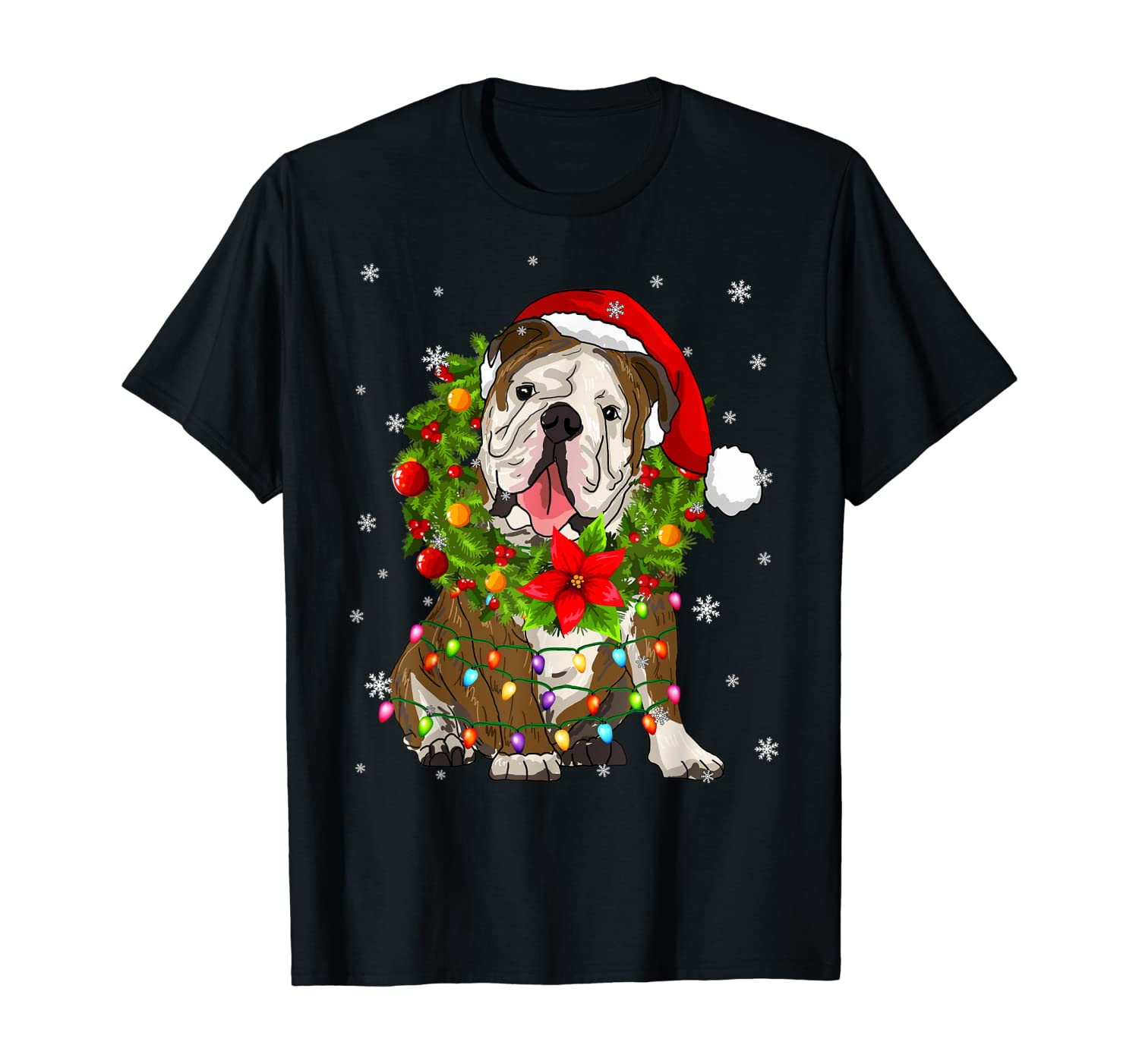 Santa Bulldog Dog with Christmas lights Gifts Xmas T-Shirt