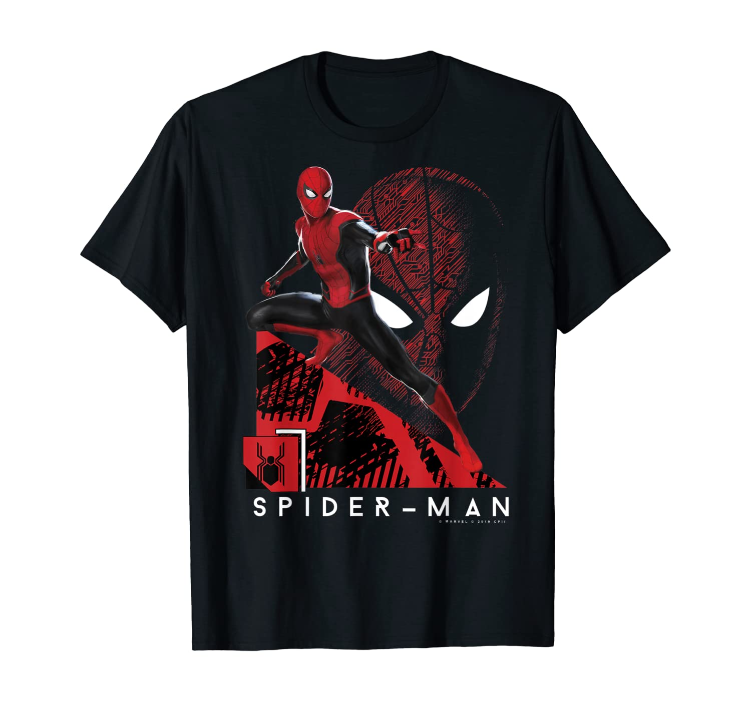 Marvel Spider-Man Far From Home Portrait Tech Background T-Shirt