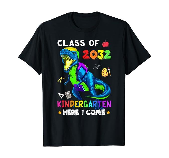 Dinosaur T-rex Gift Kindergarten Here I Come Class of 2032 T-Shirt