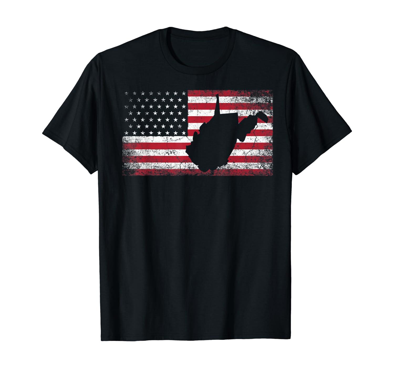 American Flag 4th of July West Virginia WV Vintage Men Women T-Shirt
