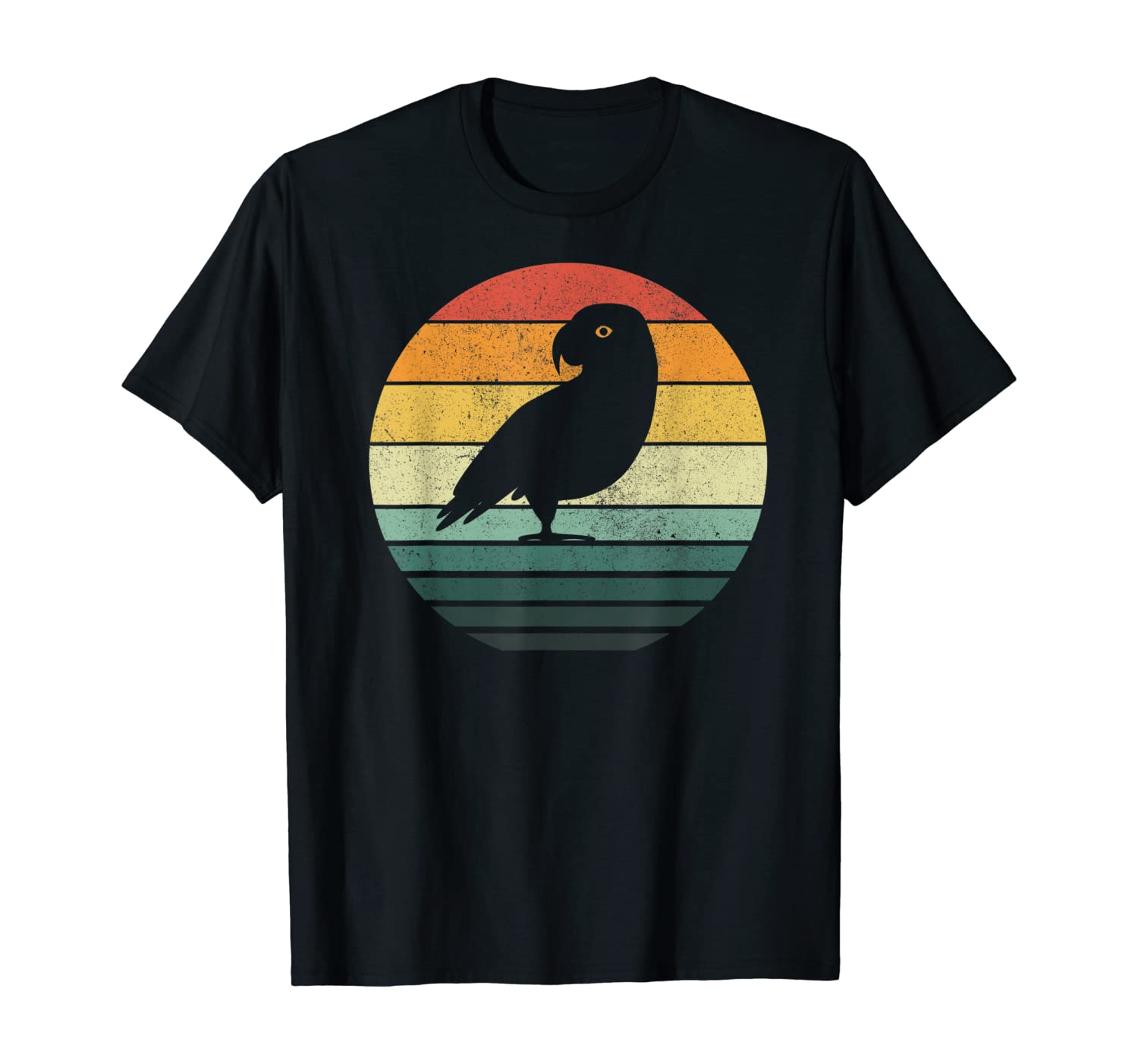 African grey parrot Sunset Retro Vintage 70s Nature Lover T-Shirt