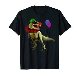 Amazon Com T Rex Halloween Clown T Shirt Creepy Scary Dinosaur Clothing