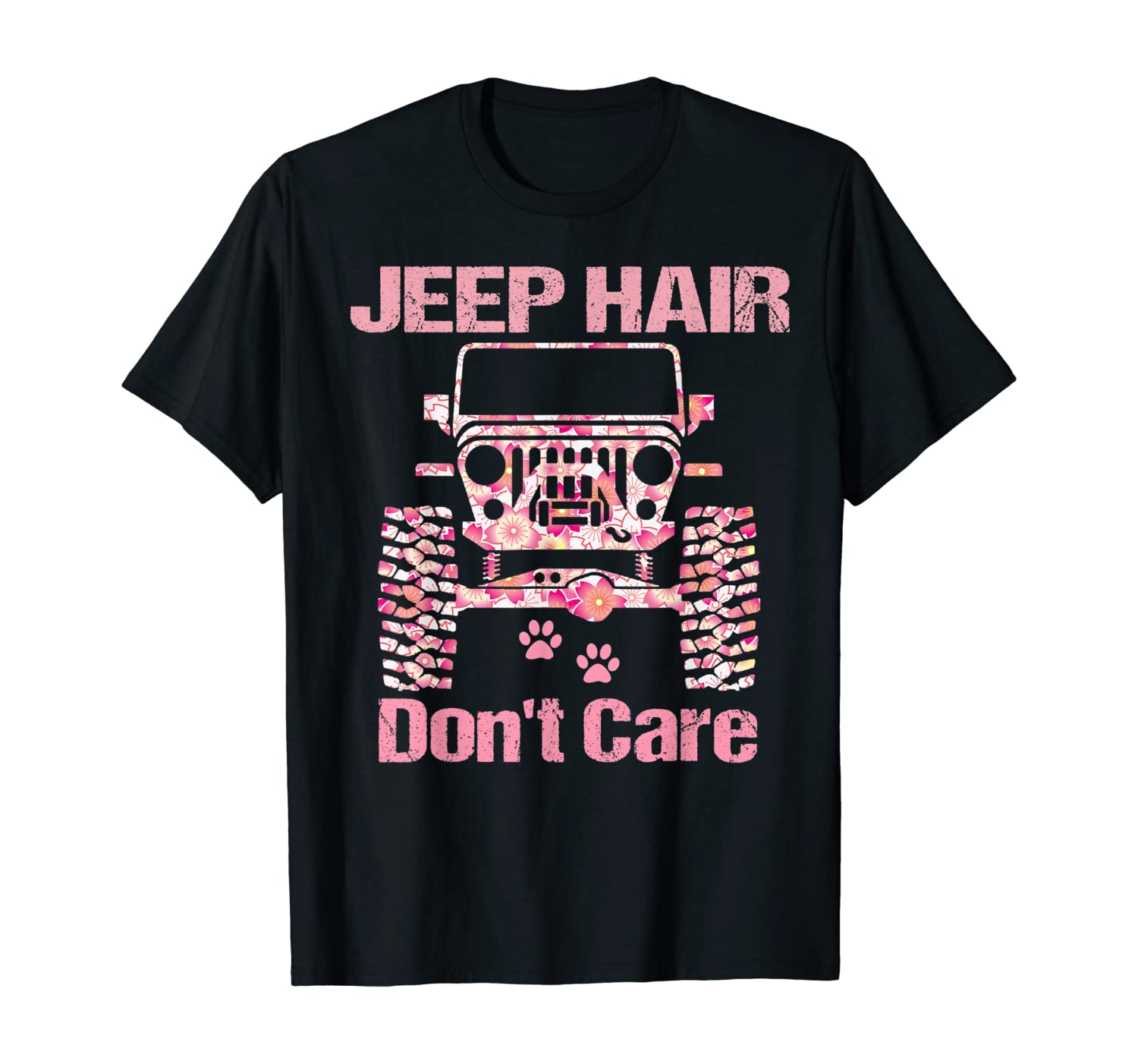 Flower Jeeps Hair Don't Care Driving Jeeps Dogs Summer Jeeps T-Shirt