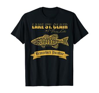 Amazon Com Lake St Clair Michigan Smallmouth 1 Bass Lake Fishing Shirt T Shirt Clothing