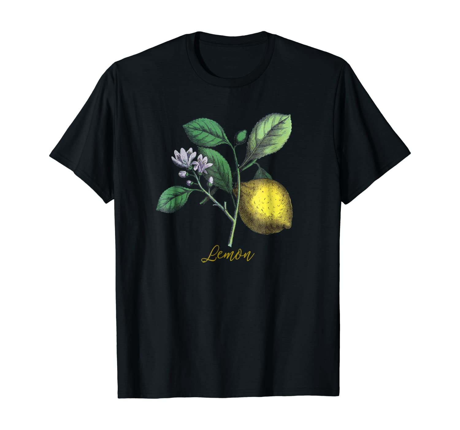 Vintage Botanical Art T-shirt Lemon Plant