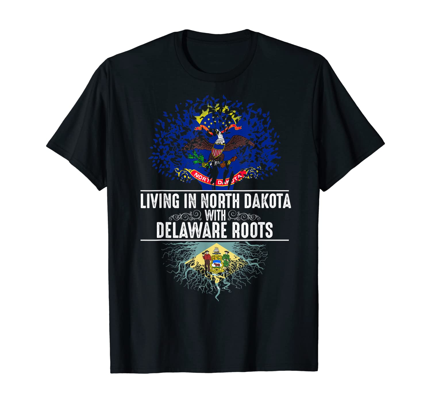North Dakota Home Delaware Roots State Tree Flag Gift T-Shirt