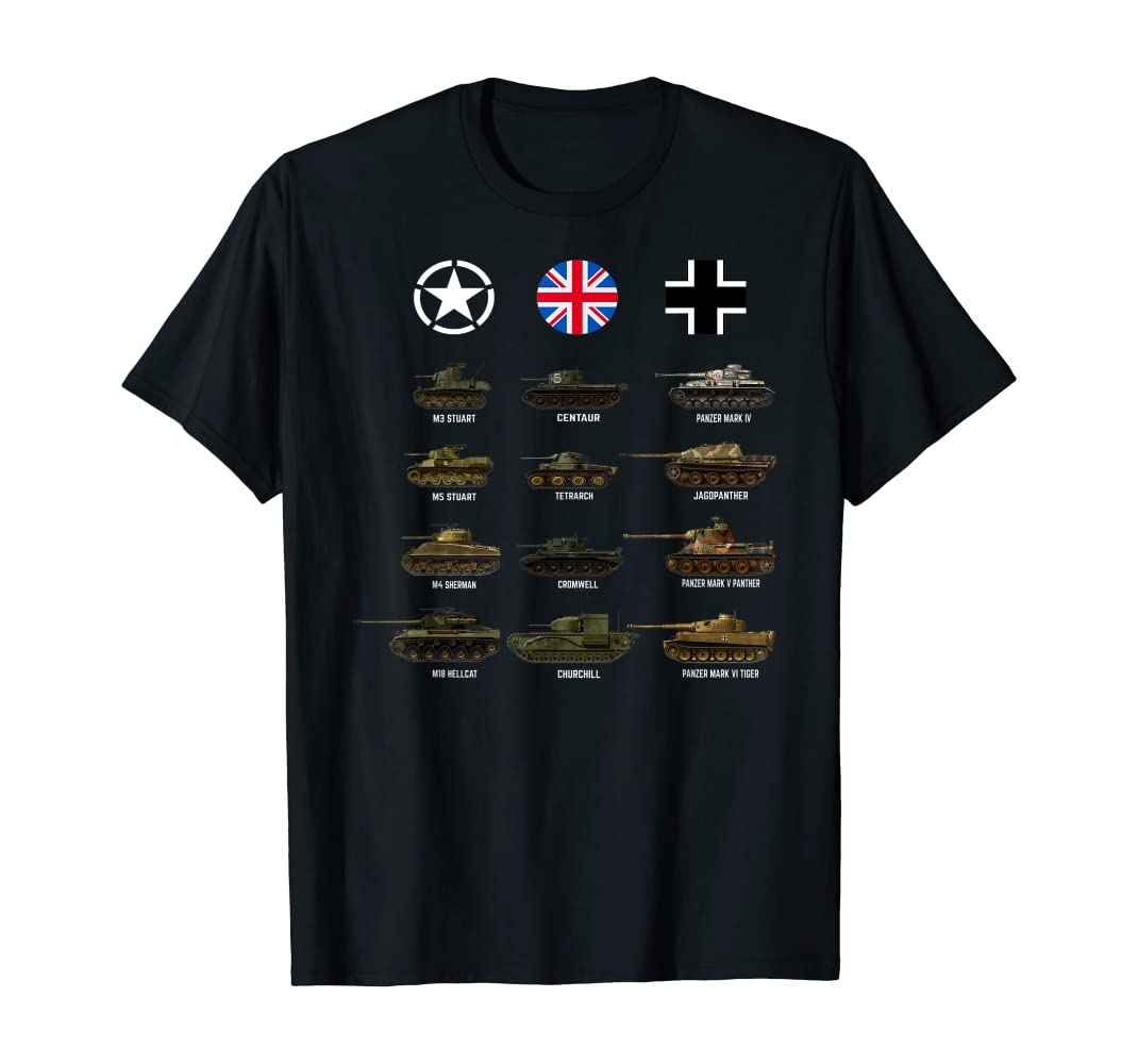 Los tanques Sherman WW2 Hellcat Panzer Tiger Panther Camiseta