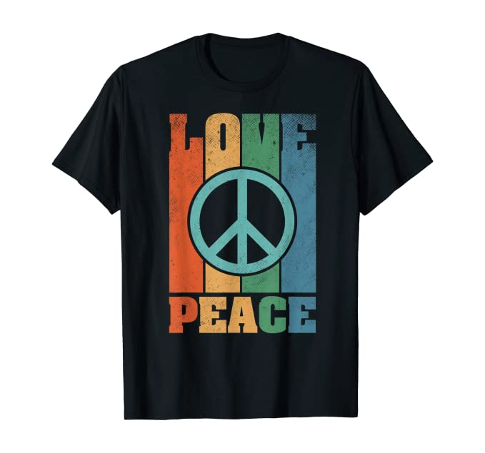 Women's 70s Shirts, Blouses, Hippie Tops Peace Love Hippie Costume 60s 70s Hipster Gift Vintage T-Shirt £15.97 AT vintagedancer.com
