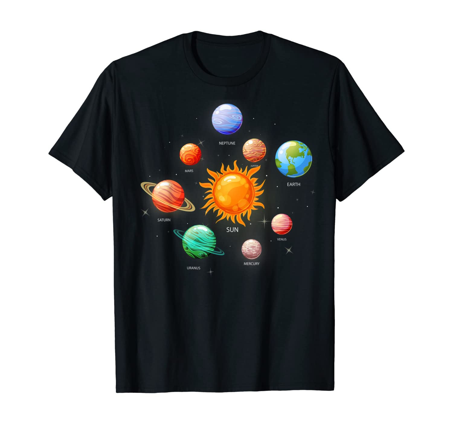 Solar System With Sun Planets Comets Earth Tee Space Geeks T-Shirt