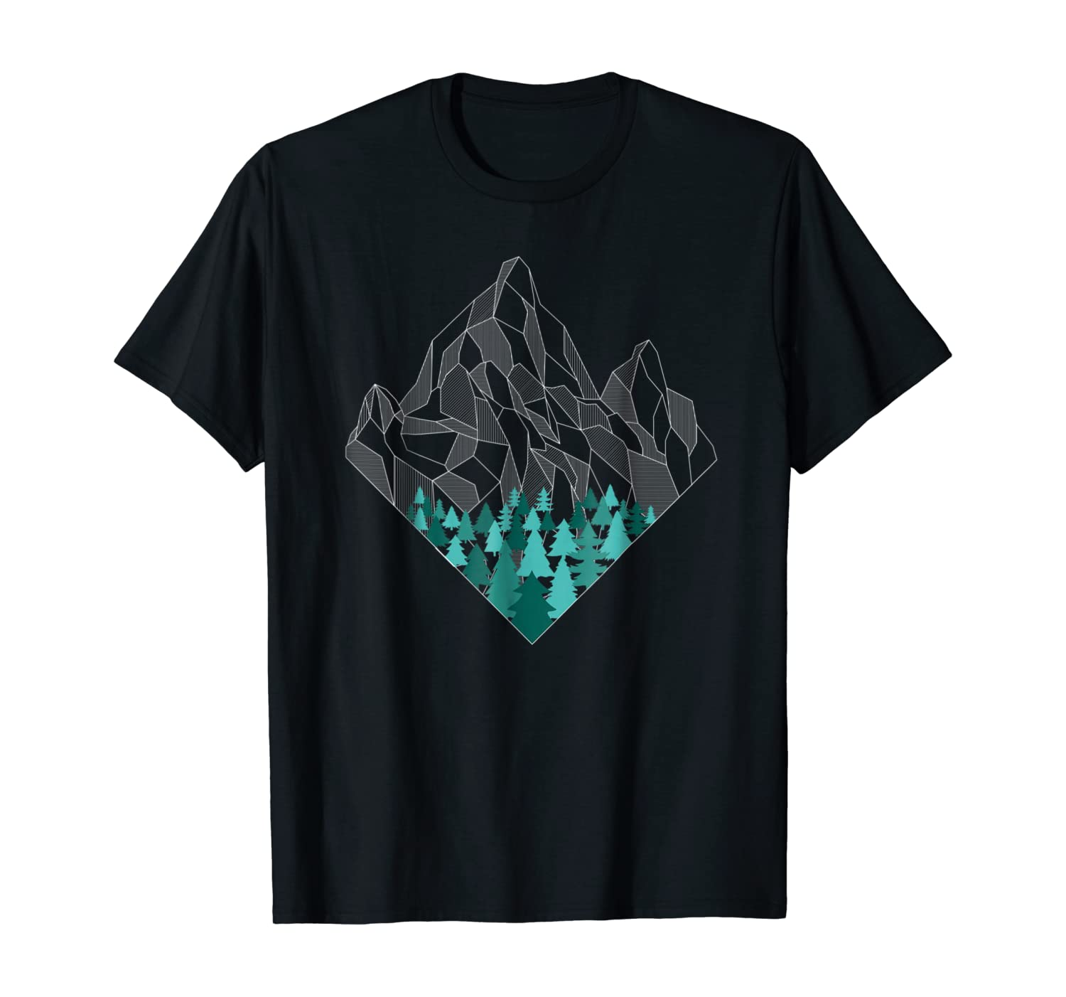 Minimal Mountains Geometry Outdoor Hiking Nature T-shirt