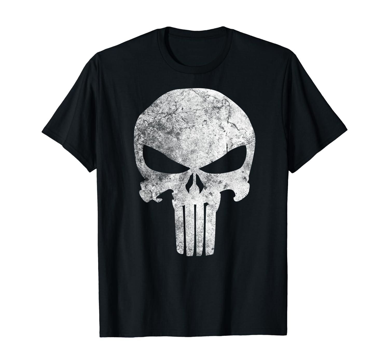 Marvel Punisher Skull Symbol Distressed Graphic T-Shirt T-Shirt