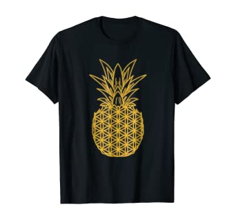Amazon Com Sacred Geometry Pineapple Flower Of Life Gold Hawaii T Shirt Clothing
