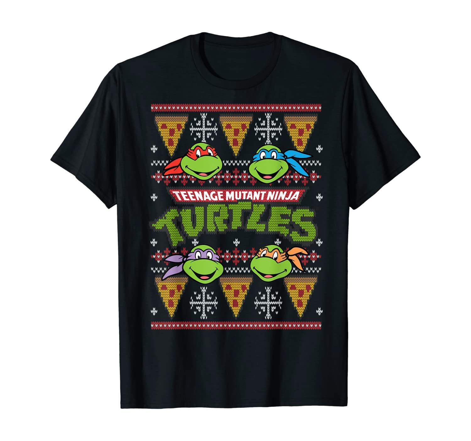 TMNT Ugly Christmas Sweater With Pizza T-Shirt