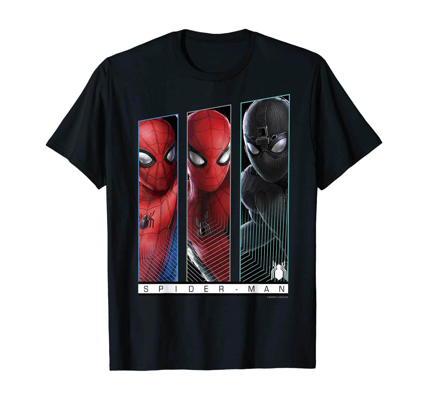 Marvel Spider-Man Far From Home Suits Panel Poster T-Shirt