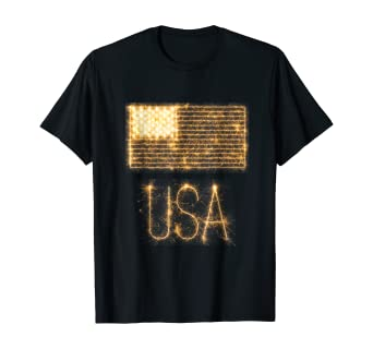 USA Shirt - Flag in Fireworks and Sparklers T Shirt