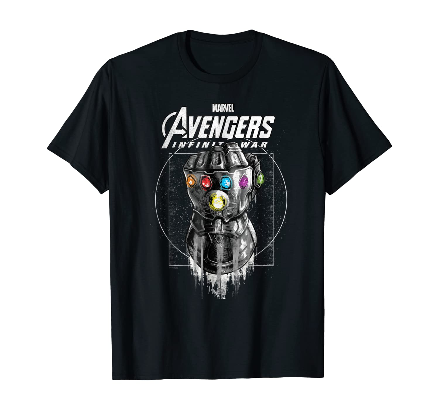 Marvel Infinity War Geo Gauntlet Drawing Graphic T-Shirt