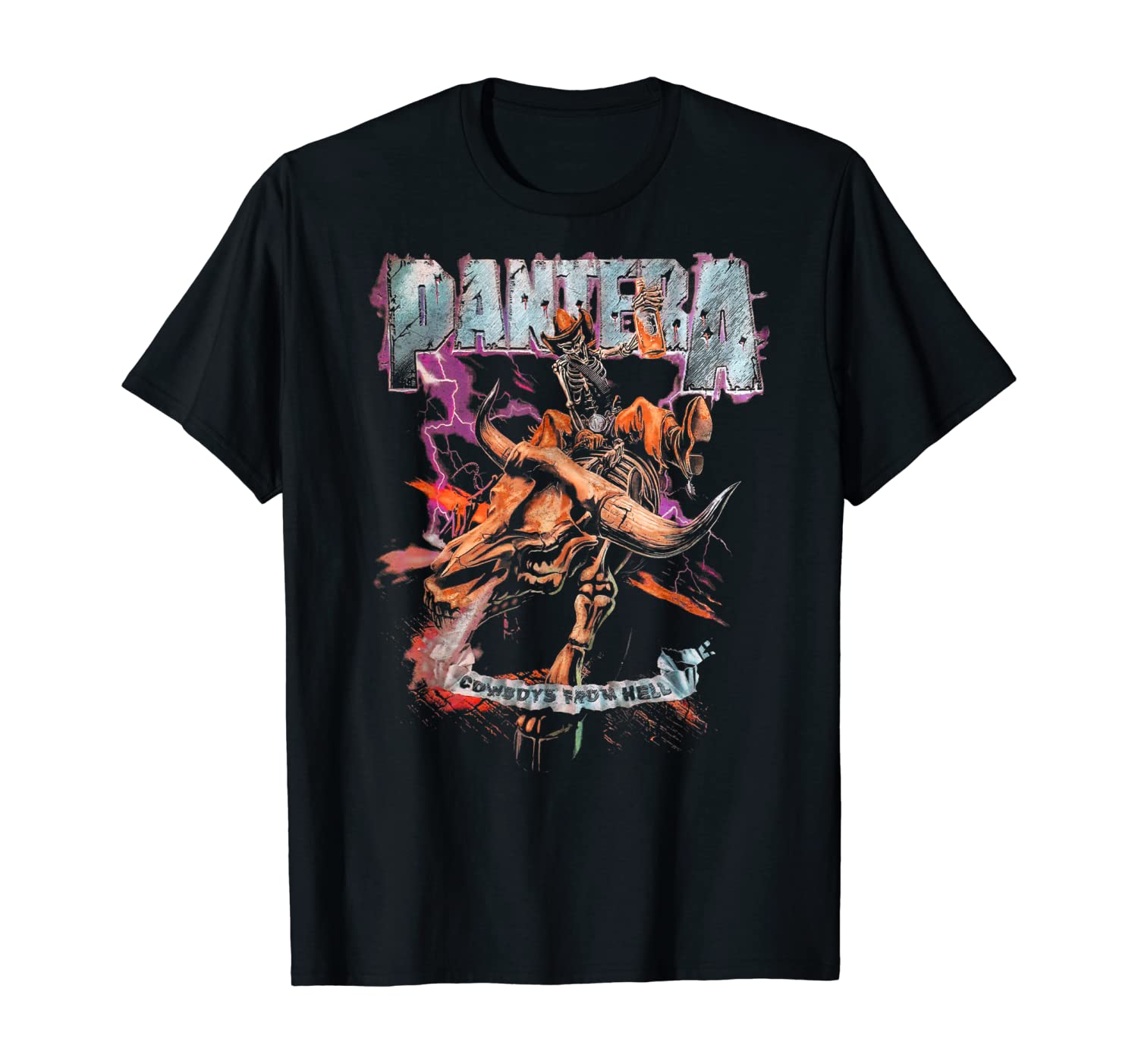 Pantera Official Cowboys From Hell Riding Skeleton T-Shirt