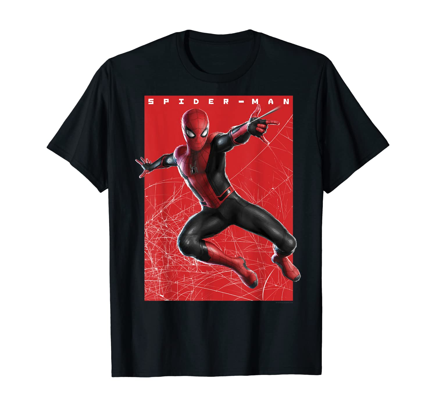 Marvel Spider-Man Far From Home Web Swinging Poster T-Shirt