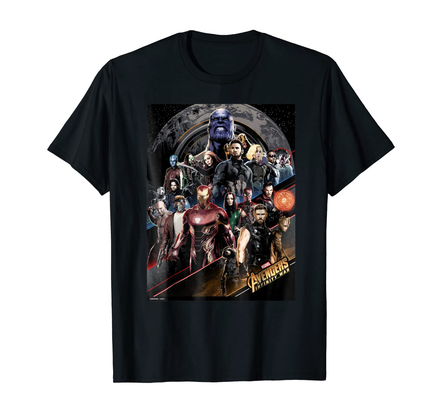 Marvel Infinity War Group Striped Poster Graphic T-Shirt