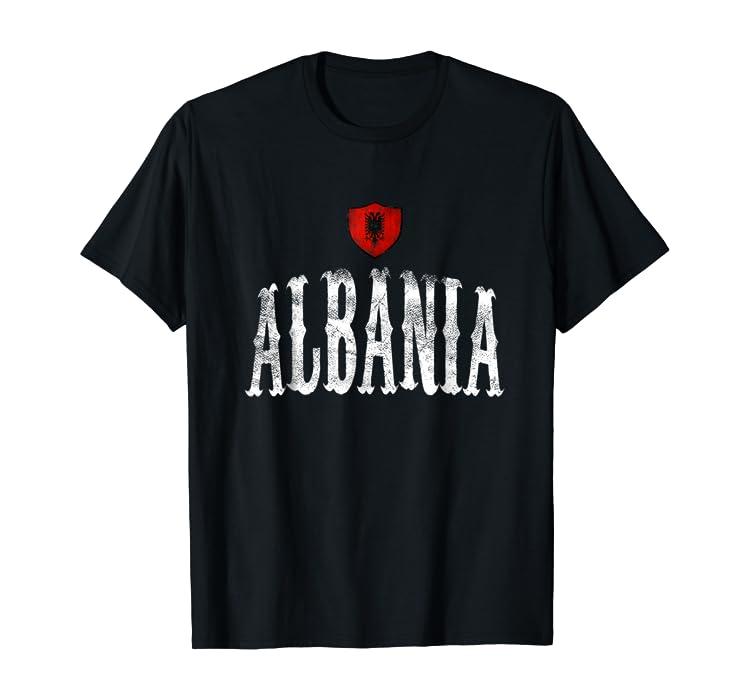70534a5a5 Amazon.com  Vintage Albania Flag T-shirt Albanian Pride Sport  Clothing